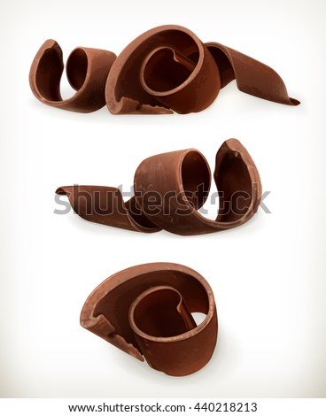 Chocolate shavings, sweet food, vector icon set isolated on white background
