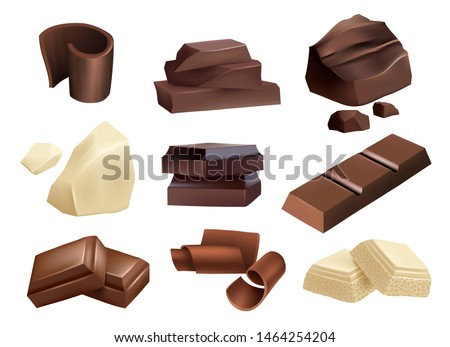 Chocolate. Sweets dessert parts of black and white chocolate vector realistic collection. Chocolate piece dark, food dessert, sweet realistic snack illustration
