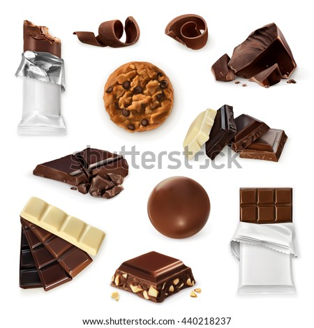 Chocolate, vector icon set. Different kinds of cacao products: energy bar, candy, pieces, slices, shavings, cookie