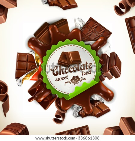 chocolate  vector label