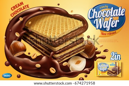 Chocolate wafer ads, crunchy cookies with chocolate syrup and nuts isolated on yellow background in 3d illustration