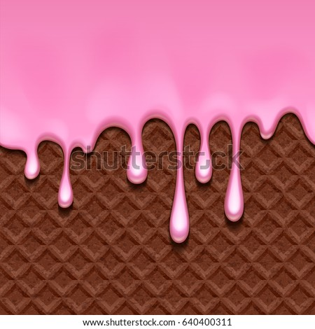 chocolate wafer and melted pink