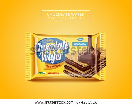 Chocolate wafer package design, delicious cookie package design isolated on yellow background in 3d illustration