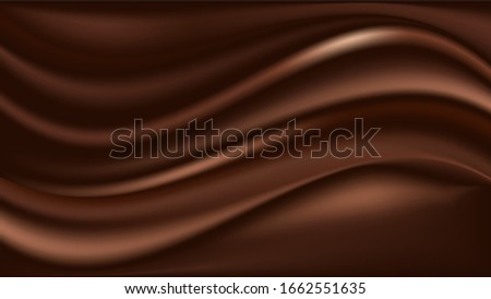Chocolate wavy swirl background. Abstract satin chocolate waves, brown color flow. Vector illustration