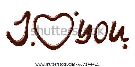 Chocolate words i love you on white background, realistic vector illustration.
