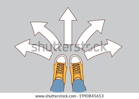 Choice and decision concept. Human foot in sneakers standing with arrows in various directions around meaning variety of choice and directions vector illustration