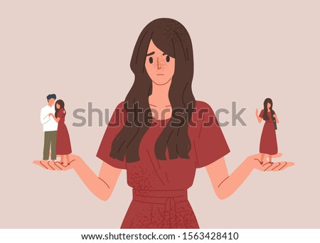 Choice between loneliness and relationships concept vector illustration. Girl hesitating to be alone or start dating. Pros and cons of romantic relationships. Advantages and disadvantages.