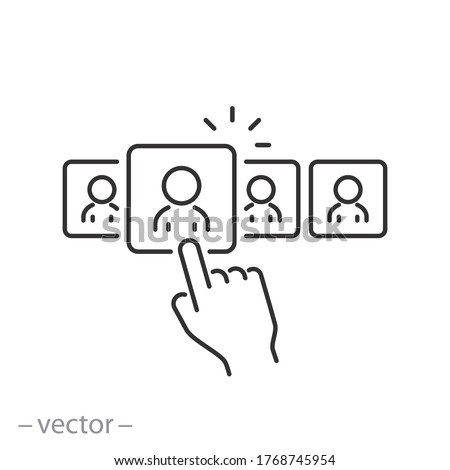 choice employe for a job icon, vacancy career customer, looking client audience, thin line symbol on a white background - editable stroke vector illustration eps10 Stock photo ©
