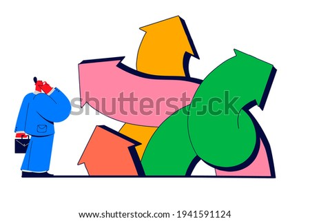 Choice, pathway selection dilemma concept. Businessman cartoon character standing at crossroads and trying to diced which way to go and what business strategy to choose vector illustration  Stock fotó ©