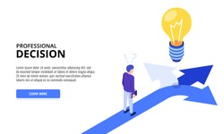 Choice process. Direction choose options, solution, decision. Man thinking. Web banner. Isometric vector illustration.