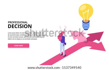 Choice process. Direction choose options, solution, decision. Woman thinking. Web banner. Isometric vector illustration. Сток-фото ©