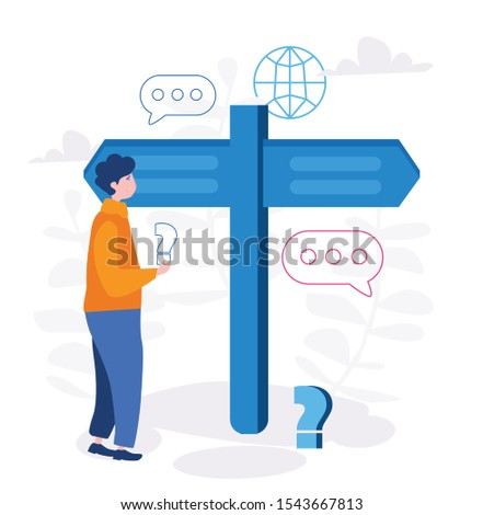 Choice process in business, man make  professional decision vector illustration.