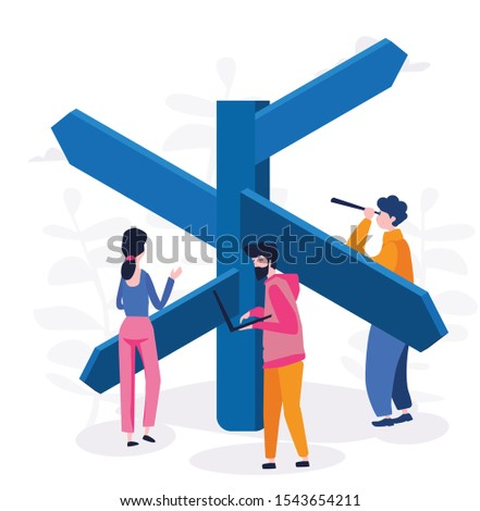 Choice process in business, people make  professional decision vector illustration.