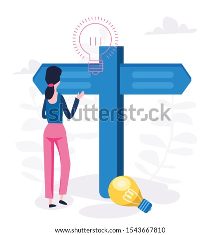 Choice process in business, woman make  professional decision vector illustration.
