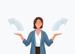Choice vector background. Happy young business woman comparing variants, choosing between something in both flat hands gesture. Arrows indicate direction selection. Flat illustration in cartoon style.