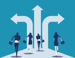Choice way. Business team with crossroads and decision to success. Concept business decision vector illustration.