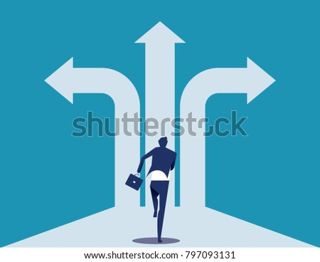 Choice way. Businessman with crossroads and decision to success. Concept business decision vector illustration.