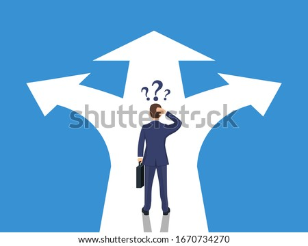 Choice way concept. Businessman before choosing. Crossroads arrows. Decide direction. Human standing choice of ways. Vector illustration flat style Stock foto ©