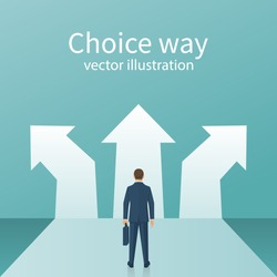 Choice way concept. Decision business metaphor. Vector flat style design. Isolated on background. Businessman before choosing. Crossroads arrows. Decide direction. Human standing choice of ways.