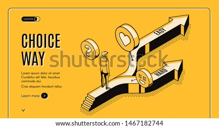 Choice way isometric landing page, businessman stand on road fork with hard and easy directions, making decision what path to choose, crossroad, business challenge, task 3d vector line art web banner
