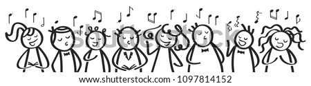 Choir, banner, funny men and women singing, black and white stick figures sing a song isolated on white background Stock photo ©