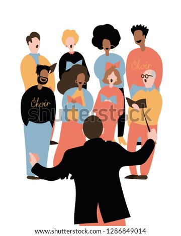 Choir conductor. Music director. Back view. Mixed choir singing. Stock photo ©