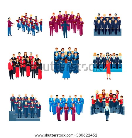 choir flat icons collection of