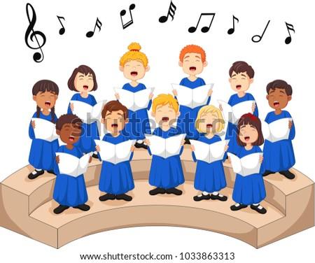 choir girls and boys singing a