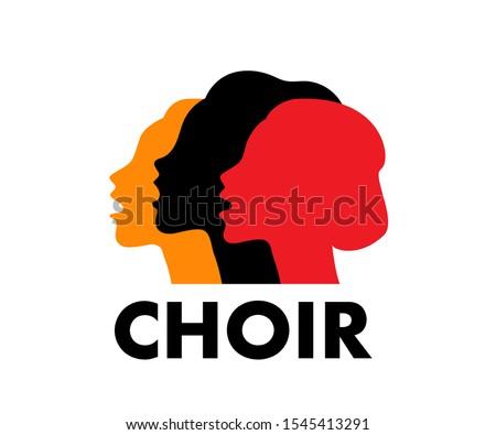 Choir logo vector illustration. Singing people, music. Music, singing, worship concept. Stock photo ©