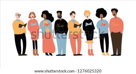 Choir singing. Group of people singing. Group of male and female flat cartoon characters isolated on white background. Vector illustration. Stock photo ©
