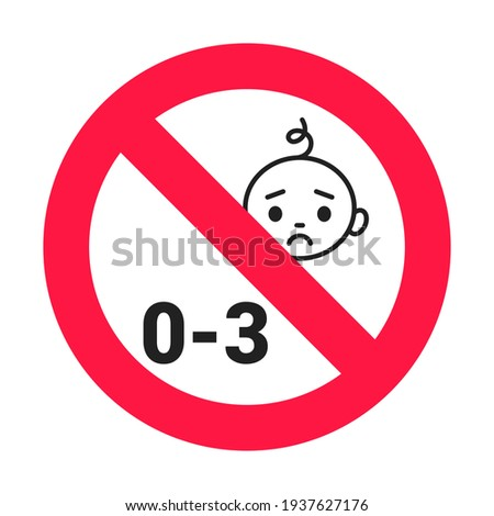 Choking hazard forbidden sign sticker not suitable for children under 3 years isolated on white background Foto stock ©