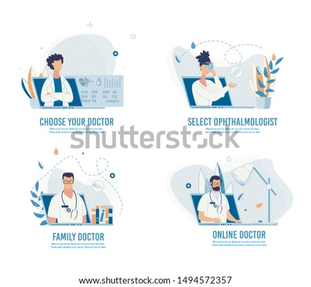Choose Doctor, Make Appointment and Book Visit Online Set. Searching Medical Specialist Service for Diseases Treatment, Maintaining Health. Cartoon Design Banner. Vector Flat Illustration