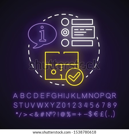 Choose escape room neon light concept icon. Select quest type idea. Choice of strategy game. Comparing information. Glowing sign with alphabet, numbers and symbols. Vector isolated illustration Сток-фото ©