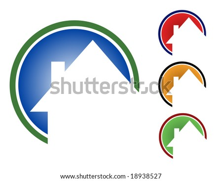Choose from 4 different circular house icons types. (Blue, red, orange and green.)