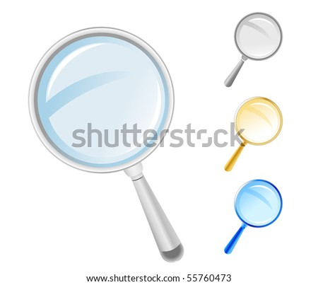 Choose from four different colored search magnifying icons from gray to gold and to blue. Use it for web icons or a symbol of research or exploration.