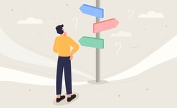 Choose the right way to success concept. Business decision, career path, work direction idea. Confusing businessman looking at multiple road sign with question marks and thinking which way to go