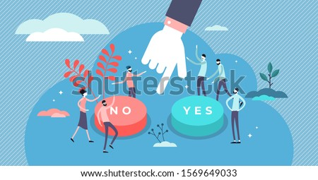 Choose vector illustration. Flat tiny options choice process persons concept. Symbolic scene with yes or no answers and decision making. Positive or negative persuasion and convince visualization.