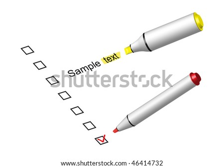Choose your decisions in check box by a marker, to mark a text