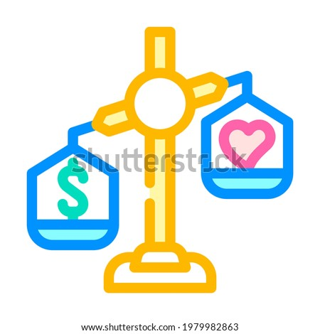 choosing between conscience and money color icon vector. choosing between conscience and money sign. isolated symbol illustration Stock photo ©