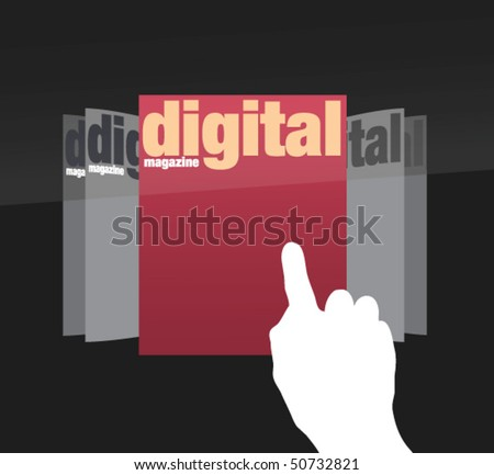 choosing edition of digital magazine on touch screen in vectors