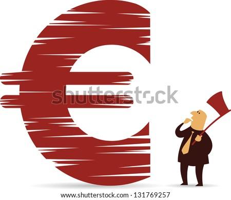 Chopped down Euro sign