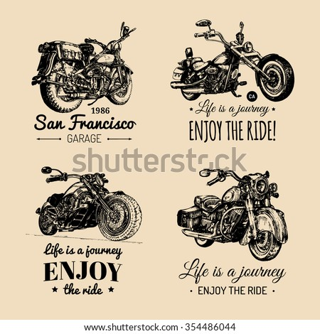 chopper and motorcycle logo set