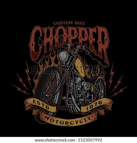 chopper custom bike style vintage vector illustration Stock photo ©