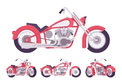Chopper custom motorcycle bright red set. Motor vehicle, big, heavy machine in classic design for extrme sport and city enjoyment. Vector flat style cartoon illustration isolated on white background