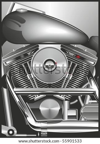 chopper engine black and white