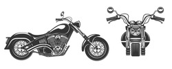 Chopper motorcycle front and side view isolated on white background black and white vector illustration.