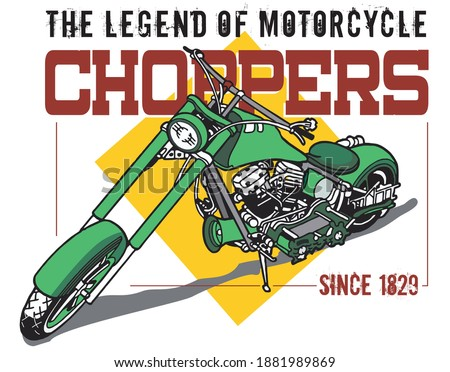 CHOPPER MOTORCYCLES IMAGE FOR T SHIRT ILLUSTRATION VECTOR Stock photo ©
