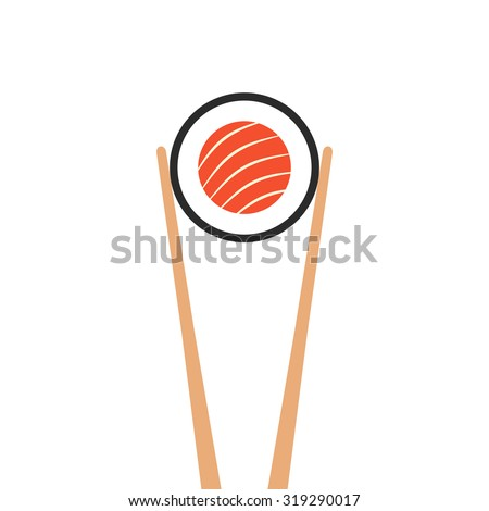 chopsticks holding sushi roll. concept of snack, susi, exotic nutrition, sushi restaurant, sea food. isolated on white background. flat style trend modern logotype design vector illustration