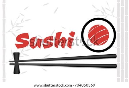 Chopsticks Holding Sushi Roll Frame. Concept illustration of snack, sushi, exotic nutrition, sea food. Template for sushi restaurant, cafe, delivery or your business works.