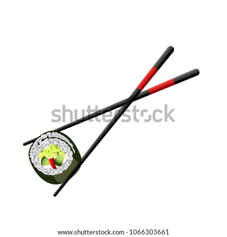 Chopsticks holding sushi roll isolated on white background. Sushi piece placed between wooden sticks. Fresh realistic japanese seafood meal for asian restaurant concept design. Vector illustration.